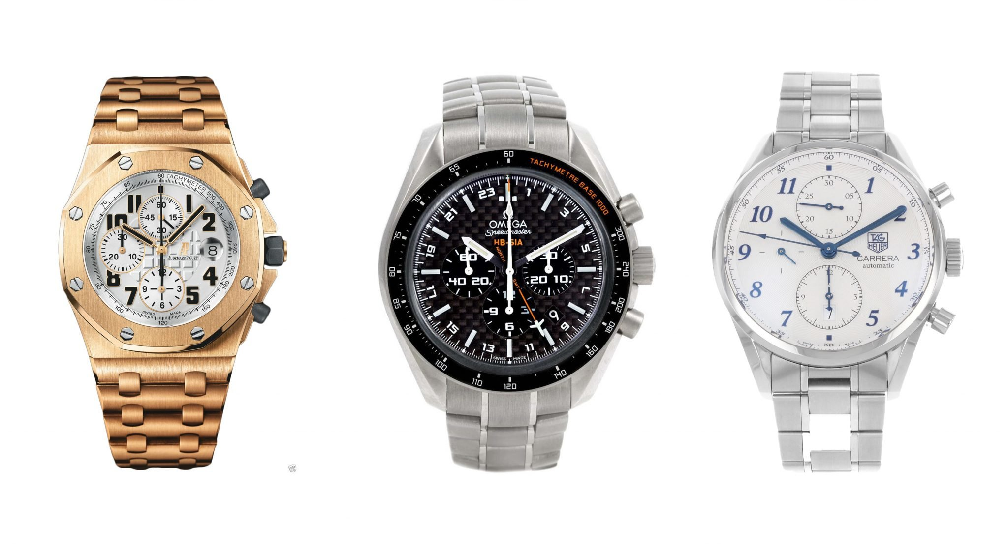 From left to right: Audemars Piguet Royal Oak, Omega Speedmaster, and TAG Heuer Carrera
