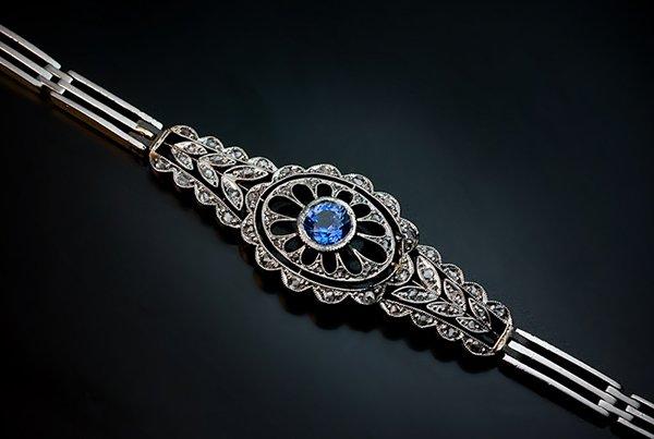 Edwardian Sapphire and Diamond Bracelet
