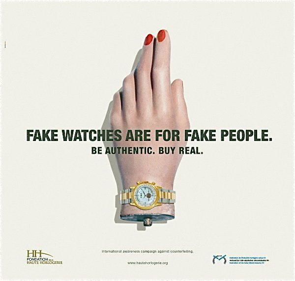 An ad from the Swiss watch industry's 20009 anti-counterfeiting campaign