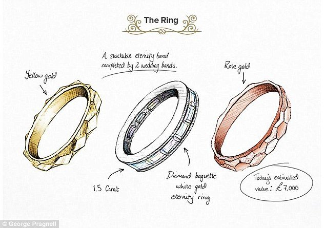 A detailed illustration of Hepburn's stackable engagement rings