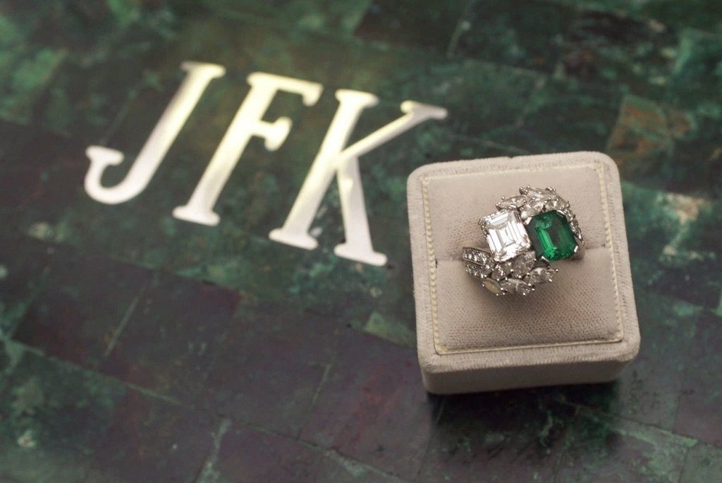 Jacqueline Kennedy's ring after the surrounding stones were re-cut and set.