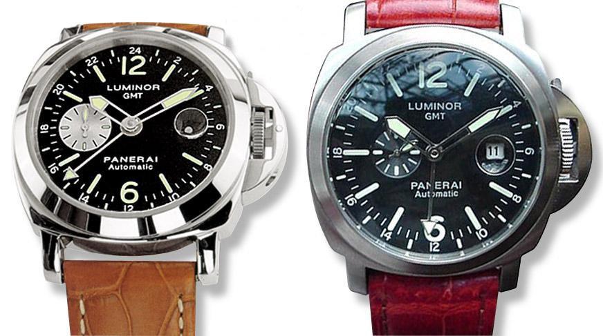 Left: a genuine Panerai Luminor GMT. Right: A replica Panerai.