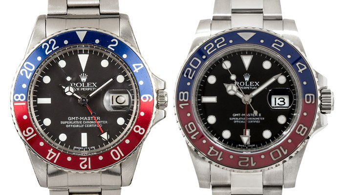 The Rolex GMT-Master (left) and Updated Rolex GMT-Master II