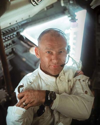 Astronaut Buzz Aldrin aboard the Apollo 11 wearing his Omega Speedmaster