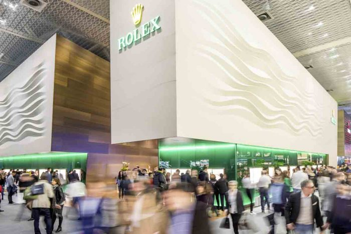 """The Rolex """"booth"""" at Baselworld is a multi-storied structure."""
