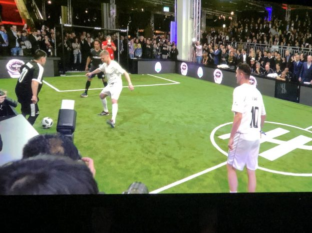 In Hall 4 at Baselworld, Hublot brought in world-class soccer teams and held a match to underscore the announcement of its newest smart watch honoring its relationship with FIFA.