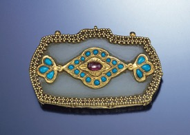 Le Vian Turquoise, Gold and Ruby Slide Pendant, Circa 1501