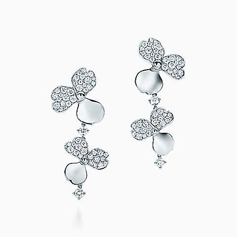 Tiffany gold and diamond Paper Flower earrings