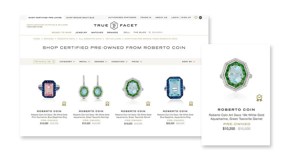TrueFacet's Brand Certified Pre-Owned Roberto Coin Category Landing Page Preview