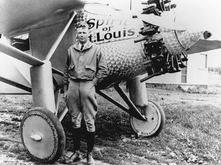 Charles Lindbergh with the Spirit of St. Louis Plane