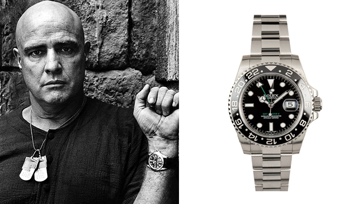 Marlon Brandon in Apocalypse Now wearing a Rolex GMT Master