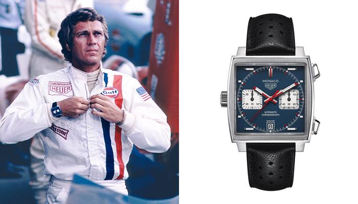 Steve McQueen wearing a TAG Heuer Monaco in Les Mans