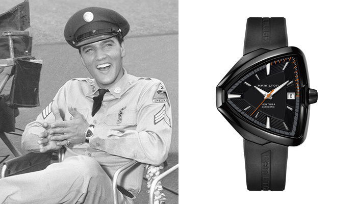 Elvis Presley in Blue Hawaii wearing a Hamilton Ventura watch