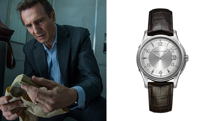 Liam Neeson in The Commuter wearing a Hamilton Jazzmaster watch