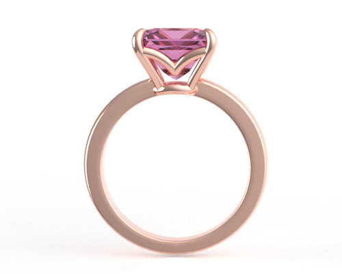 Pink sapphire gemstone set in a rose gold engagement ring
