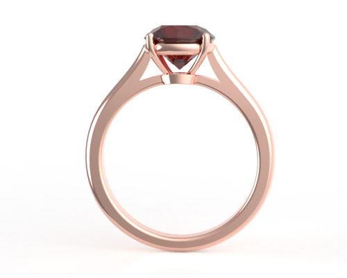 Ruby gemstone set in a rose gold engagement ring