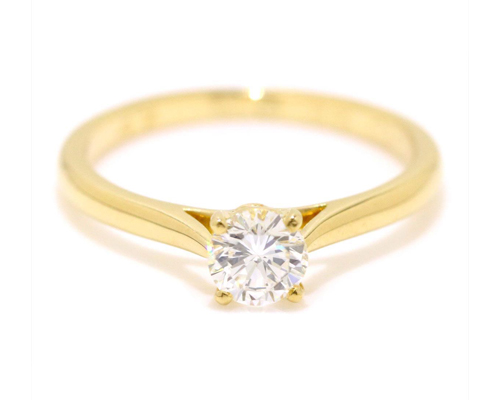 Cartier yellow gold engagement ring with solitaire diamond