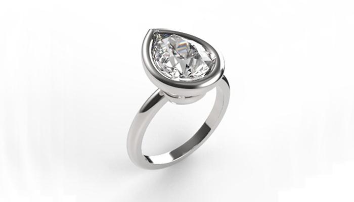 Pear-cut diamond ring
