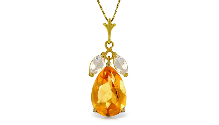 6.5 CTW 14K Solid Gold Necklace Citrine White Topaz