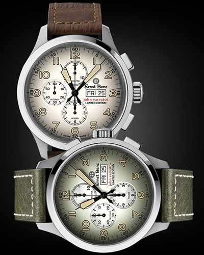 Ernst Benz x John Varvatos Limited Edition Watches with Green and Brown Leather Straps