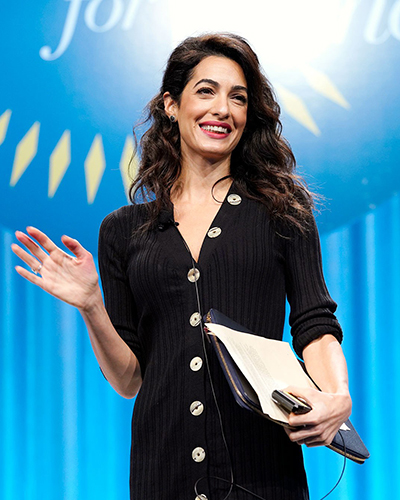International law and human rights lawyer Amal Clooney wore a pair of Le Vian earrings to the October 2018 Pennsylvania Conference for Women.