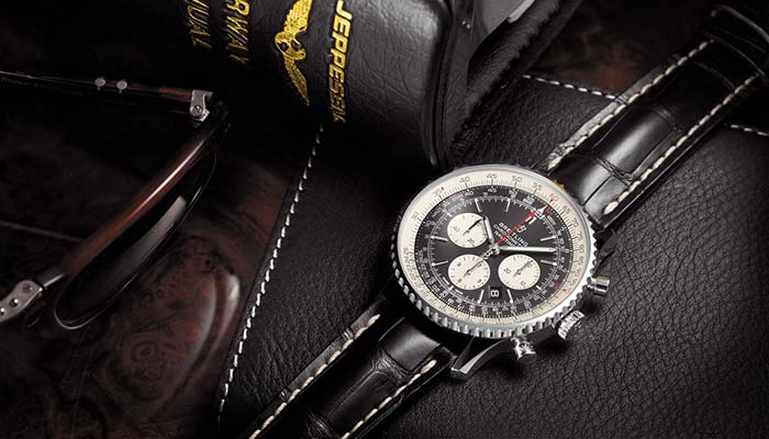 Navitimer 1 B01 Chronograph 46 with black dial and black alligator leather strap. (PPR/Breitling)