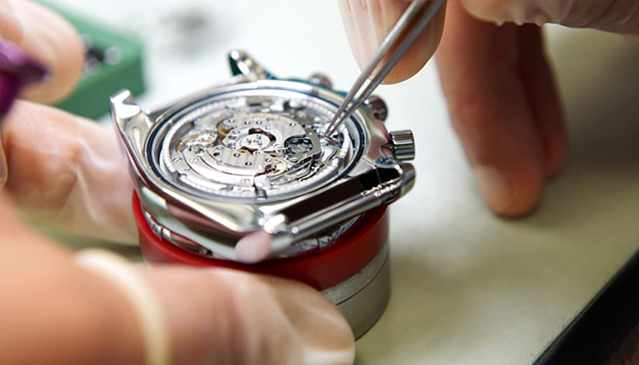 A Breitling watch being serviced by the manufacturer. Image courtesy of Breitling.