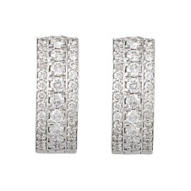 Roberto Coin 18K White Gold 0.63ctw Diamond Rondel Huggies Nord Earrings