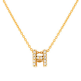 Roberto Coin 18K Yellow Gold 0.06ct Diamond Letter H Pendant Necklace