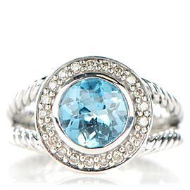 David Yurman Sterling Silver With Aquamarine & Diamonds Ring Size 5
