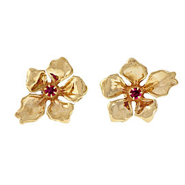 14K Yellow Gold & 0.30ct Ruby Flower Earrings