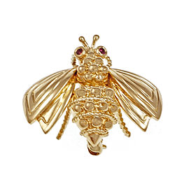 Tiffany & Co. 18K Yellow Gold with 0.08ct. Ruby Bee Pin Brooch
