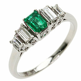 MIKIMOTO PT950 Platinum Emerald Diamond Ring TNN-2028