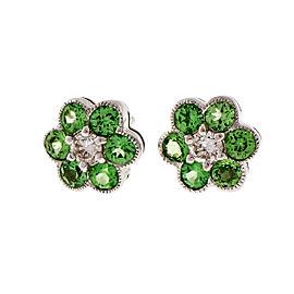 14K White Gold Tsavorite Garnet Diamond Cluster Earrings