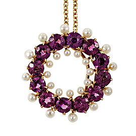 14K & 18K Yellow Gold with Pink Purple Garnet & Pearl Necklace