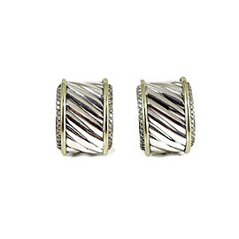 David Yurman Vintage Sterling Silver 14K Yellow Gold 1.00tcw Diamond Cigar Band Earrings
