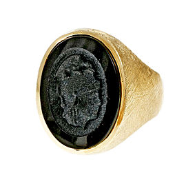 14K Yellow Gold Black Onyx Carved Ring Size 9