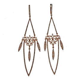 14K Rose Gold & 1.29ct Diamond Long Dangle Earrings