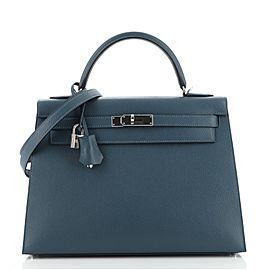 Hermes Kelly Handbag Deep Blue Epsom with Palladium Hardware 32