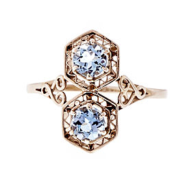 Vintage 18K White Gold 0.78ct Aquamarine Filigree Ring Size 8.5