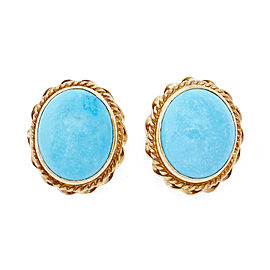 14K Yellow Gold and Turquoise Pierced Earrings