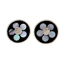 18K White Gold Black Onyx Mother Of Pearl Diamond Clip Post Earrings
