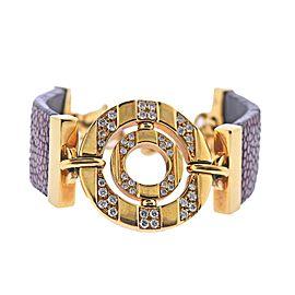 Bulgari Gold Diamond Leather Bracelet