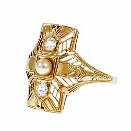 Vintage 14K Yellow Gold Cultured Pearl & 0.14ct Diamond Filigree Ring Size 7.5