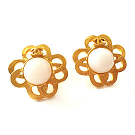 Chanel Gold-Tone and Faux Pearl CC Vintage Earrings