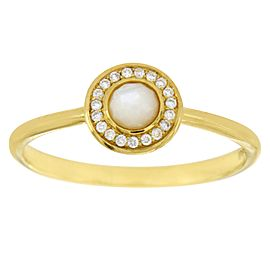 Ippolita Lollipop Mini 18K Yellow Gold Mother of Pearl & Diamond Ring Size 7