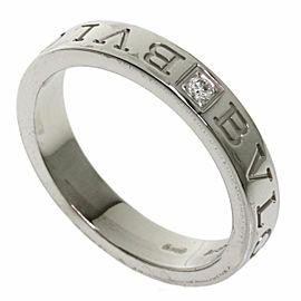 BVLGARI 18k White Gold 1P Diamond Double logo Ring