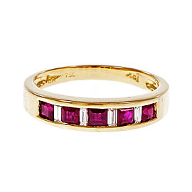 18K Yellow Gold 0.50ct Ruby & 0.10ct Diamond Band Ring Size 6.75