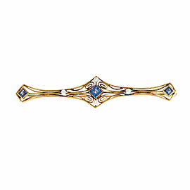 14k Yellow Gold Montana Sapphire Cultured Pearl Art Deco Bar Pin