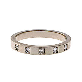 Peter Suchy 18K White Gold with 0.16ct Round Ideal Cut Diamond Wedding Band Ring Size 9.5